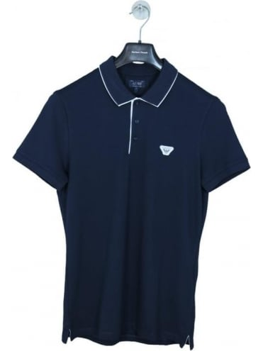 Under The Collar Logo Polo - Navy/White