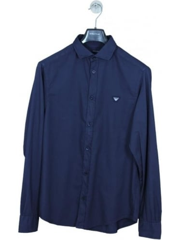 Armani Jeans Custom Fit Chest Logo Shirt - Navy