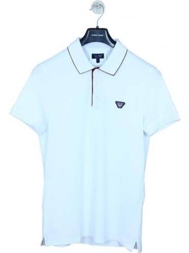 Under the Collar Logo Polo - White