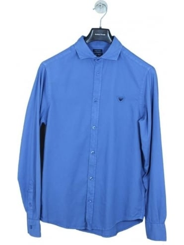 Armani Jeans Custom Fit Chest Logo Shirt - Blue