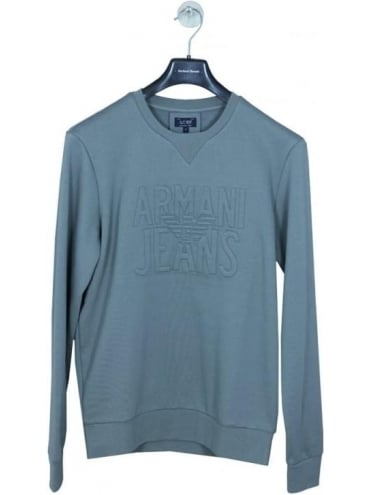 Armani Jeans Embossed Oversize Logo Sweat - Grey