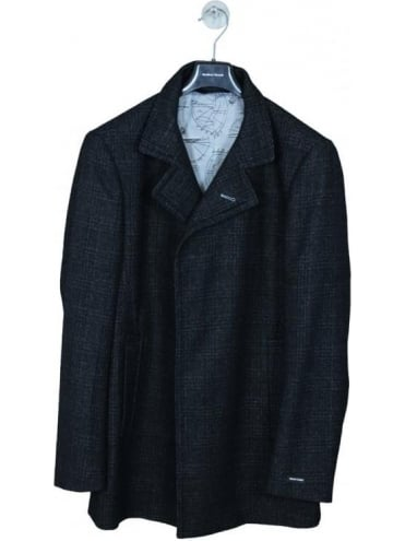 Remus Uomo Lohmann Check Overcoat - Black