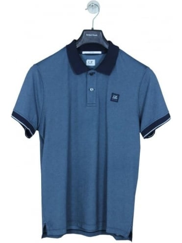 Solid Collar Chest Polo - Aegan Blue