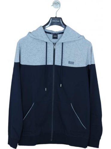 Zip Through Lounge Hooded Sweat - Navy/Grey