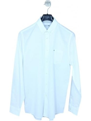 Lacoste Oxford Weave Button Down Shirt - White