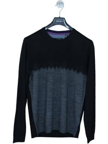 Forest Needle Punch Crew Knit - Black