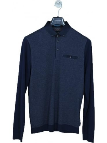 Ted Baker Rick Striped Rinstart L/S Polo - Navy