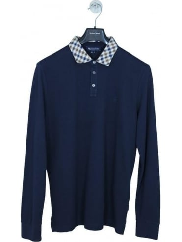 Aquascutum Nathan Long Sleeve Pique Polo - Navy