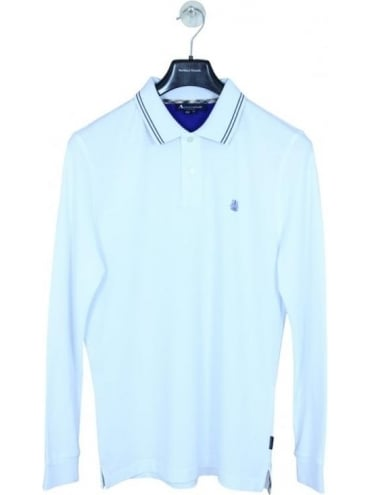 Aquascutum Preston Long Sleeve Logo Polo - White