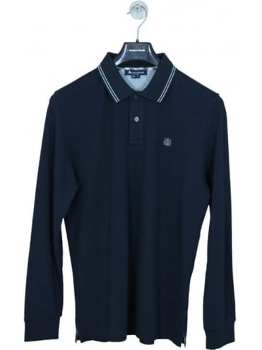 Aquascutum Preston Long Sleeve Logo Polo - Navy