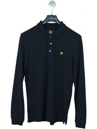 Lyle and Scott Long Sleeve Polo - Black