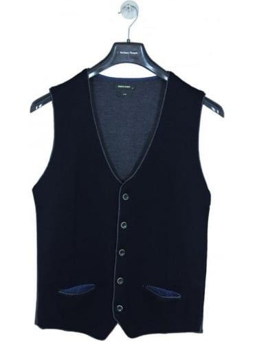 Remus Uomo Slim Fit Knitted Waistcoat In Navy