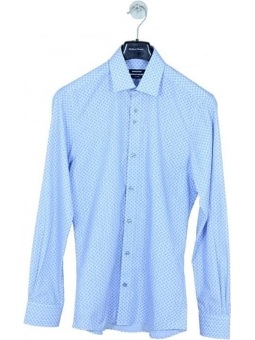 Remus Uomo Parker Tapered Patterned Shirt - Light Blue