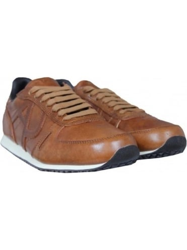 Armani Jeans Embossed AJ Leather Trainer - Tan