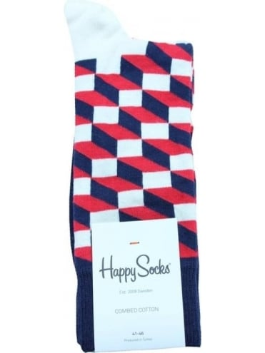 Happy Socks Filled Optic Single Pack - Red