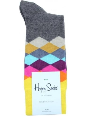 Happy Socks Faded Diamond Single Pack - Brown