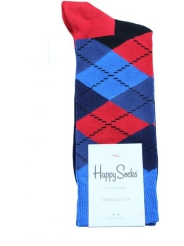 Happy Socks Argyle Single Pack - Blue