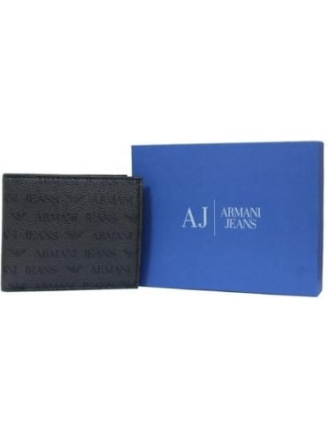 Armani Jeans Bi-Fold With Coin Pouch Print Wallet - Dark Brown