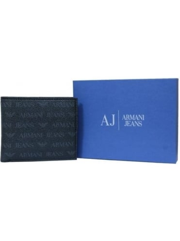 Armani Jeans Bi-Fold With Coin Pouch Print Wallet - Black