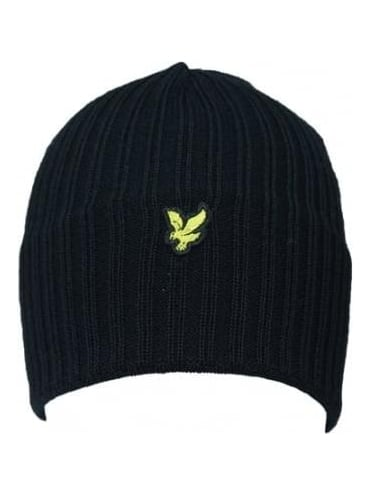 Lyle and Scott Knitted Ribbed Beanie - Black
