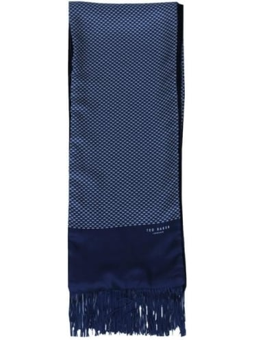 Ted Baker Crow Sir Silk and Velvet Scarf - Navy