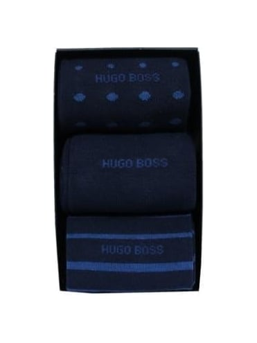 - BOSS Hugo Boss 3 Pack Design Socks Box Set - Multi