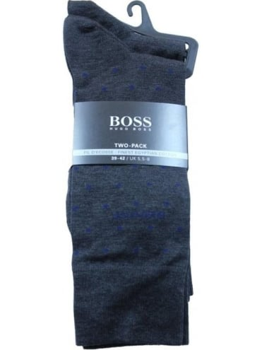 - BOSS Hugo Boss Two Pack RS Design Socks - Charcoal
