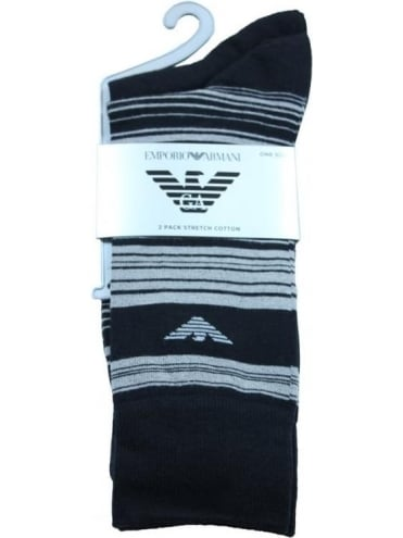 Emporio Armani Horizontal Stripe 2 Pack Socks - Black