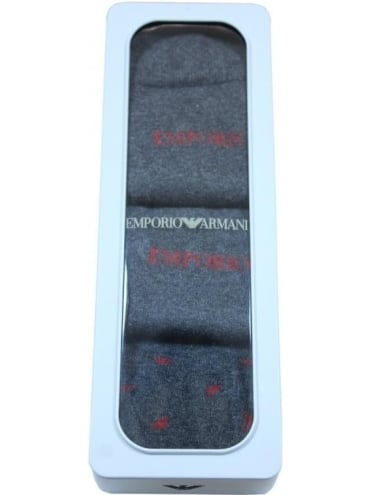 Emporio Armani Branded 3 Pack Socks - Dark Grey