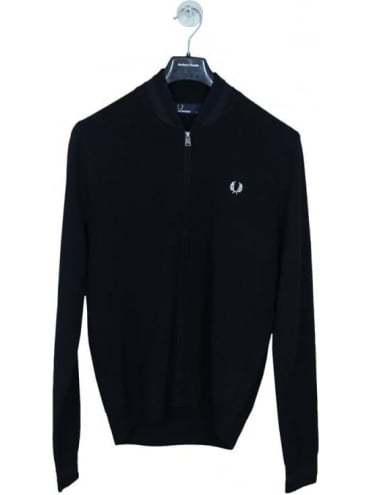Fred Perry Bomber Neck Zip Through Cardigan - Black