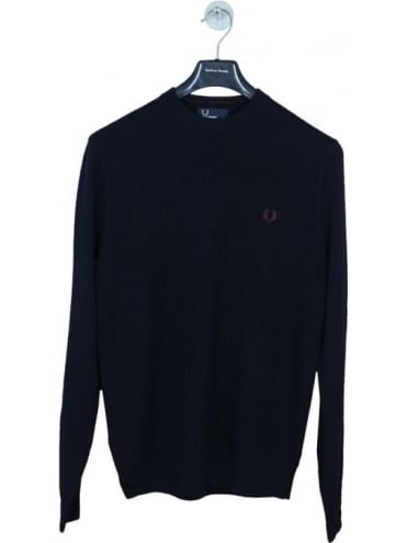 Fred Perry Oxford Textured Crew Neck Knit - Navy