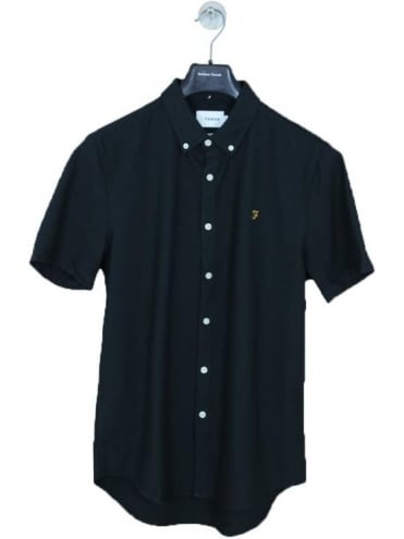 Farah Brewer Slim S/S Shirt - Black Ink