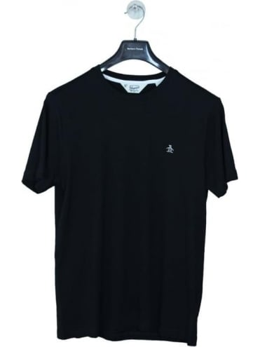 Penguin Pin Point Embroidered T Shirt - Black