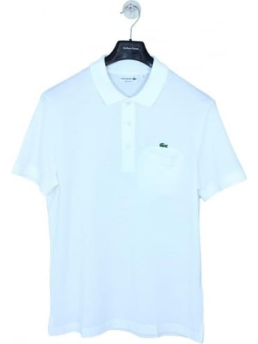 Lacoste Embroidered Pocket Polo - White