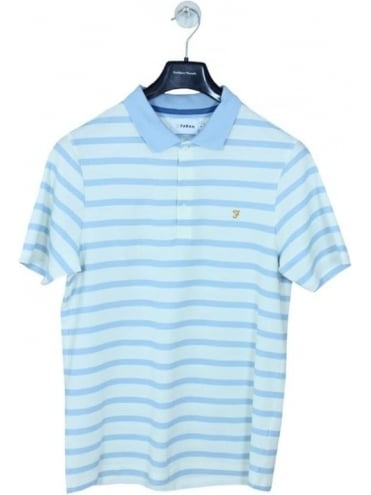 Farah Hackney Honeycomb Polo - Pale Blue