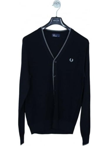 Fred Perry Micro Bomber Tipped Cardigan - Navy