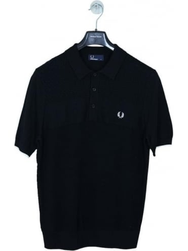 Fred Perry Textured Mix Knitted Polo - Black
