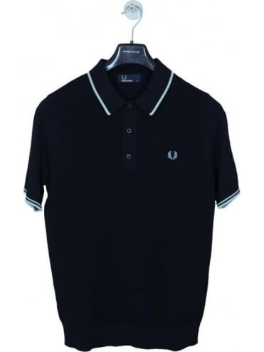 Fred Perry Tipped Knitted Polo - Navy