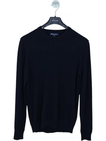 Aquascutum Corwin Cotton Crew Neck Knit - Navy