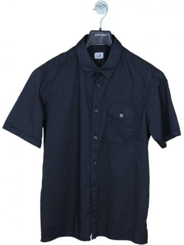 CP Company Regular Fit Short Sleeved Shirt - Blue
