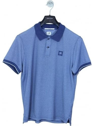 CP Company Solid Collar Chest Logo Polo - Blue
