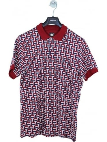 Pretty Green Plecteom Jacquard Polo - Dark Red