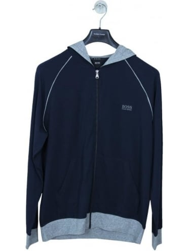 - BOSS Hugo Boss Hooded Logo Zip Sweat - Dark Blue