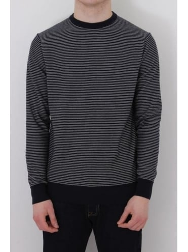 Barbour Reverse Stripe Crew Neck Knit - Navy