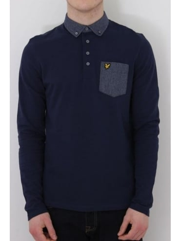 Lyle and Scott Long Sleeve Woven Collar Polo - Navy