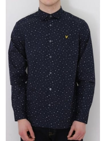 Lyle and Scott Paint Dot Print Shirt - Navy