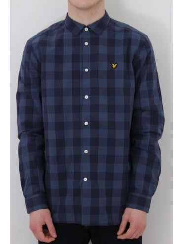 Lyle and Scott Block Check Shirt - Navy