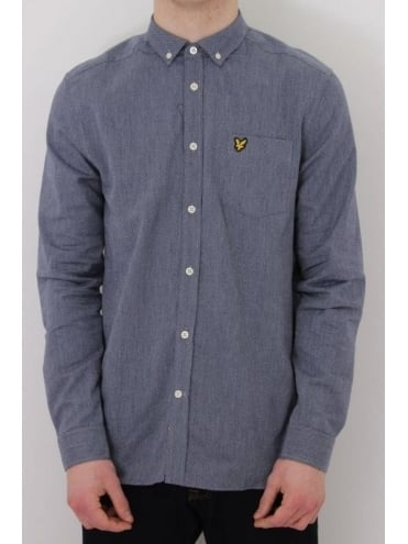 Lyle and Scott Twill Mouline Shirt - Navy