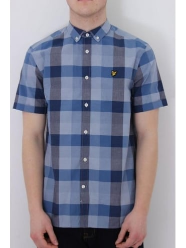 Lyle and Scott Short Sleeve Check Shirt - Navy