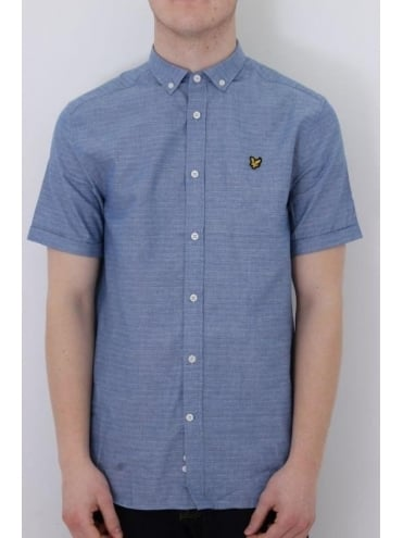 Lyle and Scott Running Stitch S/Sleeve Shirt - Blue